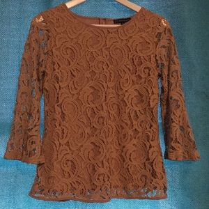 tan lace blouse